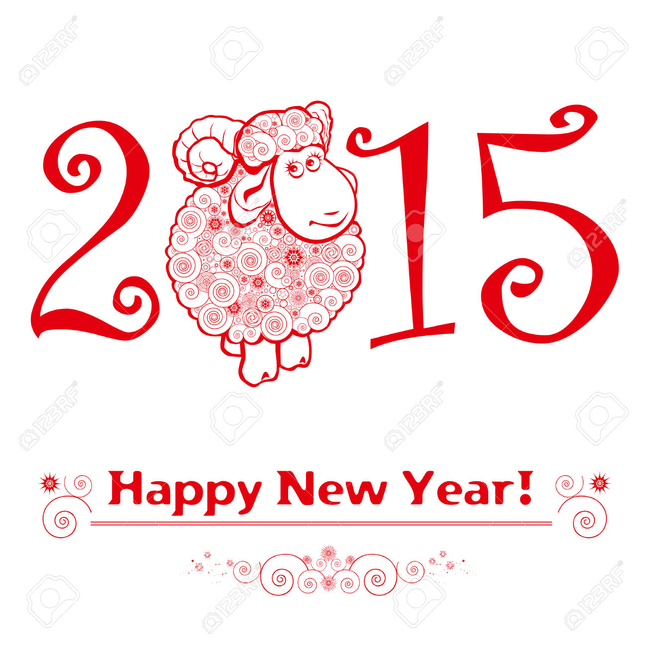 Happy Chinese New Year 31086719 Funny Sheep On White Background And